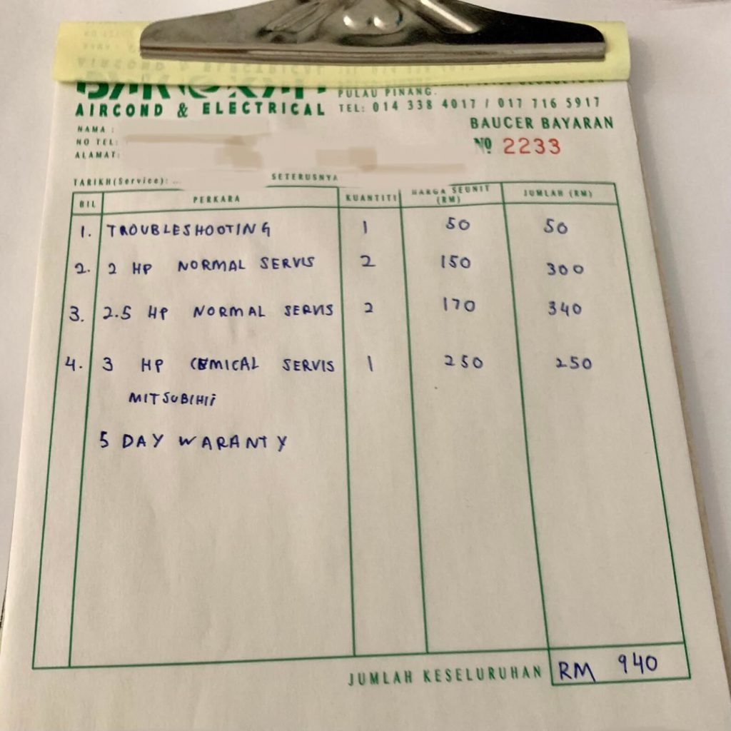 aircond cleaning invoice